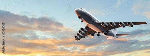 Fototapeta Modern Passenger airplane in flight