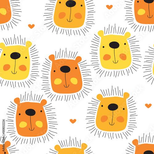 Fototapeta seamless cute lion cartoon pattern vector illustration