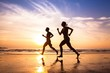 canvas print picture - runners on the beach, sport and healthy lifestyle