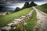 the road that climbs to the castle in Amaiur-Maya Basque village, Baztan Navarre in Spain
