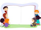 Fototapety Stickman Kids Open Book Board