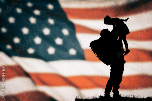 Poster American soldier silhouette on the american flag