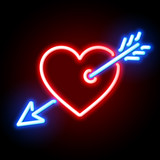 Red heart pierced by Cupids arrow neon sign
