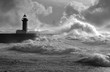 Storm waves over the Lighthouse, Portugal