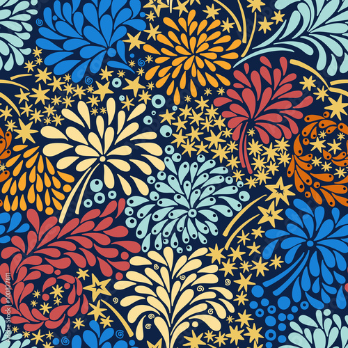 Cotton fabric Vector seamless pattern with colorful fireworks. Abstract background