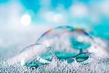Clean blue soap bubbles - 100892840