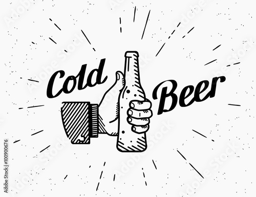 Thumbs up symbol icon with beer bottle Poster