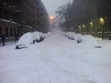 Snow street in New York City