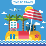 color vector flat illustration for beach paradise - 100921208