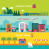 color flat  style vector illustration for summer travel - 100921222