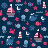 childish dark blue cartoon sea seamless pattern - 100921237