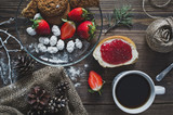 A beautiful table of coffee and strawberries 5089.