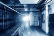 Leinwanddruck Bild Metro tunnel, blue tone image.