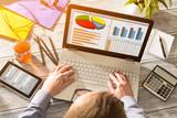 Fototapety Marketing Graph Statistics Digital  Analysis Finance Concept