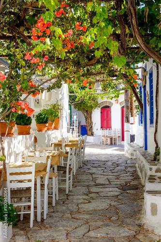 Obraz na Szkle Beautiful mediterranean colorful street, Amorgos, Greece