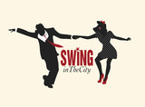 Handsome man and pin-up girl silhouettes dancing swing. Black silhouettes