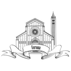Verona city label. travel Italy icon. Famous italian place. Architectural sketch of roman italian building