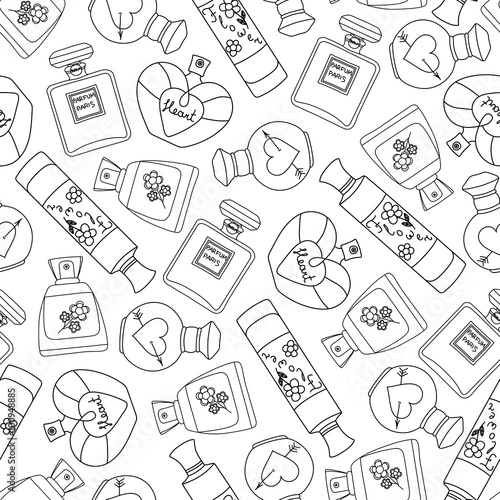 Materiał do szycia Perfume seamless pattern background. Vector illustration