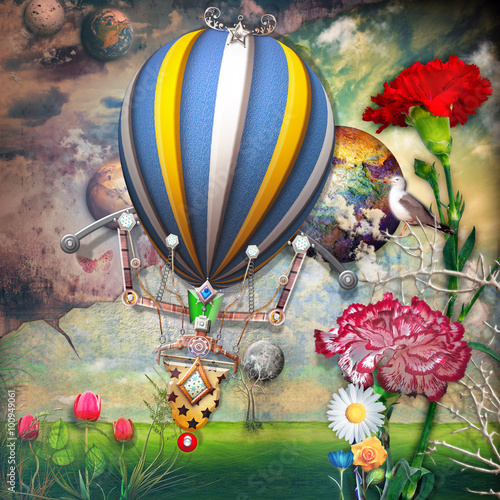 Obraz Green field with tulips flowers and montgolfier