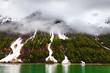 Alaska Glacier Bay National Park with mist.