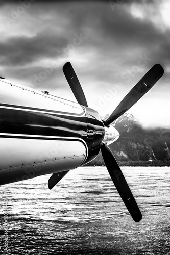 Seaplane nose and propeller in Alaska wilderness under stormy sky. Black and white