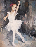 Fototapety oil painting, girl ballerina. drawn cute ballerina dancing