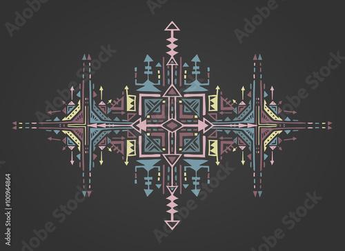 Tribal art boho hand drawn geometric pattern. - 100964864