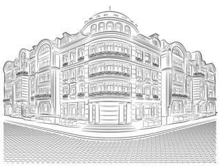 Detailed old buildings on the street corner