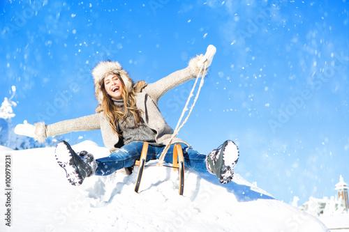 Leinwanddruck Bild winter fun