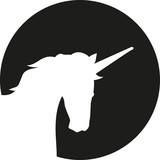 Unicorn head silhouette in front of moon