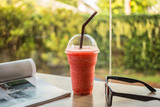 Strawberry Smoothies with sunglasses
