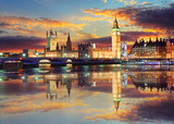 Big Ben and Houses of Parliament at evening, London, UK