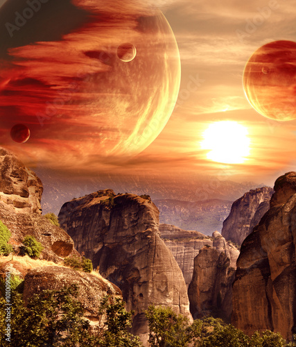 Fototapeta Fantastic landscape with planet, mountains, sunset