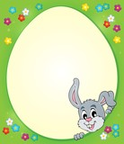Egg shaped frame with lurking bunny 1