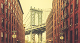 Fototapety Retro stylized Manhattan Bridge seen from Dumbo, New York.
