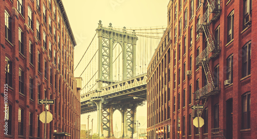 Retro stylized Manhattan Bridge seen from Dumbo, New York. - 101017225
