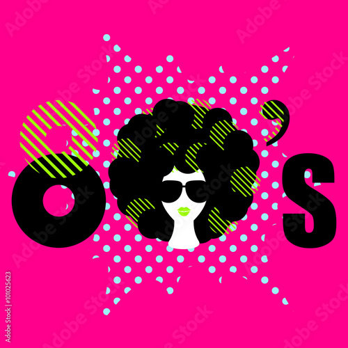Naklejka Disco 80s style dance party flyer vector template. Funky girl with curly bold black hair and sunglasses on pink background. Stylized 80s text inscription for flyer, banner, ad or product design.