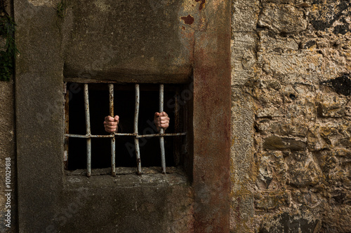 Poster Man in prison and behind grate