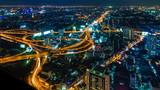 Time Lapse Night Cityscape Of Bankok City, Thailand (tilt down)