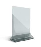 3D render acrylic clear menu holder triangle base in isolated ba