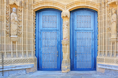 Poster double blue church doors in guernica, basque country, spain