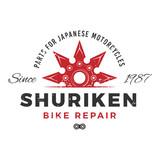 Fototapety Japan bike repair service logo concept. Ninja weapon insignia design. Vintage shuriken badge. Motorcycle parts t-shirt illustration.