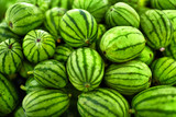 Fruit Background. A Lot Of Big Sweet Green Organic Ripe Watermelons In The Farmers Market ( Supermarket ) In Thailand, Asia. Nutrition And Vitamins. Healthy Raw Diet Food.