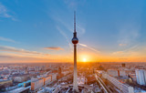 Fototapety Beautiful sunset with the Television Tower at Alexanderplatz in Berlin