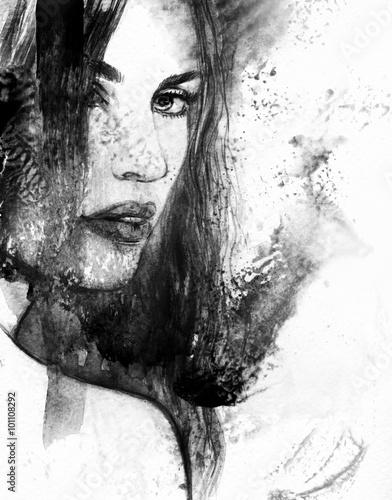 Woman face. Abstract watercolor illustration © Anna Ismagilova