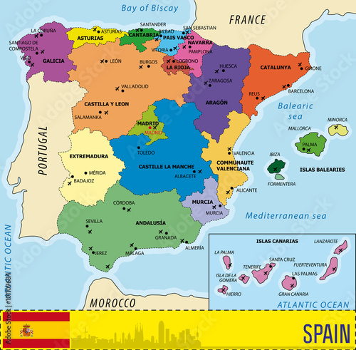 Poster Detailed vector map of Spain with all regions and airports