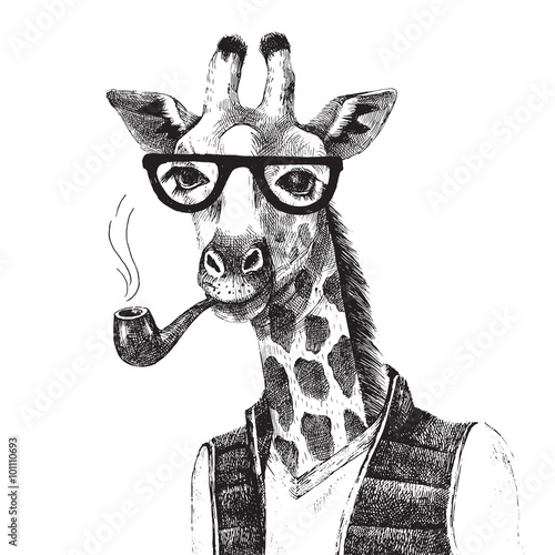 Hand drawn Illustration of giraffe hipster - 101110693