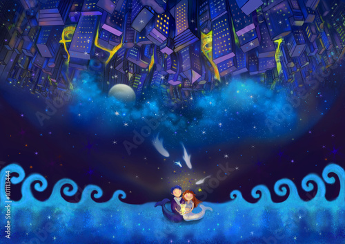Foto op Aluminium New York Illustration: The Whole World Are all Yours! Happy Valentine's Day! Upside down idea. Another world is above the head. Fantastic Cartoon Style Wallpaper Background Scene Design.