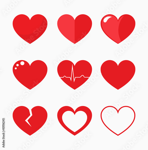 Hearts collection vector