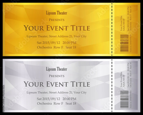 Modern gold and silver ticket with abstract background - 101117815
